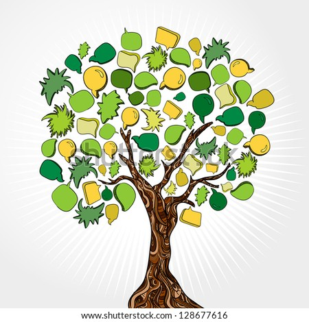 Social network tree with speech bubbles leaves. - stock photo
