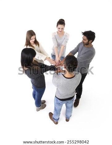 Social networking between friends concept. Above view. Isolated on a white background. - stock photo