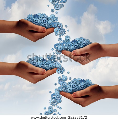 Social networking concept and organization symbol as a group of diverse hands exchanging cogwheels and gears in a connected network as a symbol of society communication. - stock photo