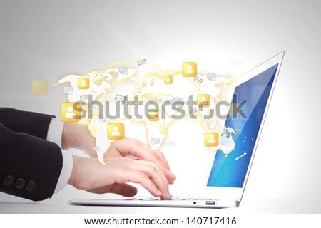 Social networking concept : Closeup of business woman hand typing on laptop keyboard - stock photo