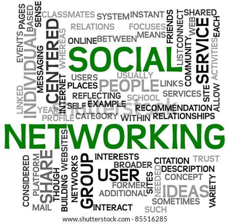 Social networking concept in tag cloud on white - stock photo