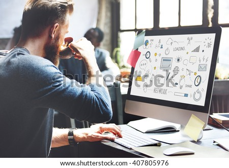 Social Networking Internet Technology Concept - stock photo