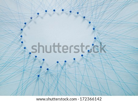 Social networking. Many threads forming two bubble speech - stock photo