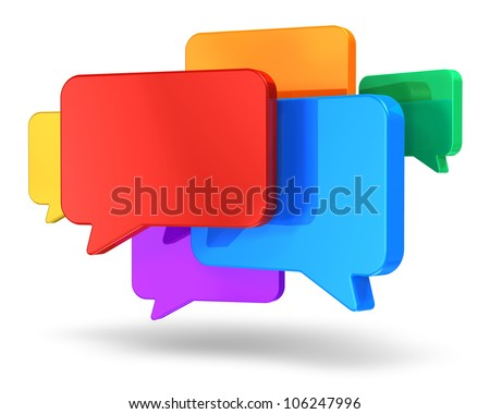 Social networking media, chat, messaging and communication concept: group of glossy colorful speech bubbles isolated on white background - stock photo