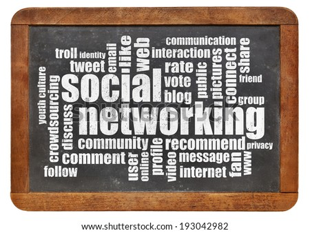 social networking word cloud on a vintage blackboard - stock photo
