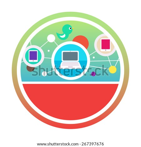 Social networks. Cloud of application icons. Set for web and mobile applications of social media. Raster version - stock photo