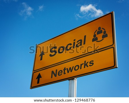 Social networks road sign. Concept interaction and cooperation people.