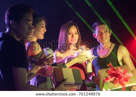 social party concept : christmas new year birthday celebration event ,selective focus