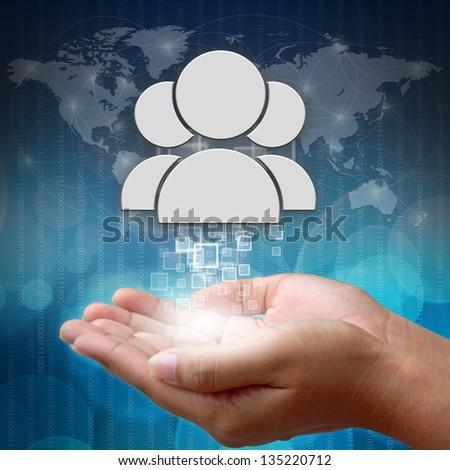 Social people symbol on hand - stock photo