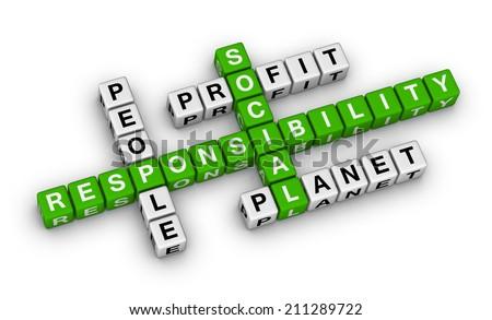 social responsibility crossword puzzle - stock photo