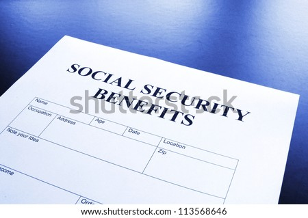 social security benefits form showing financial concept in office - stock photo