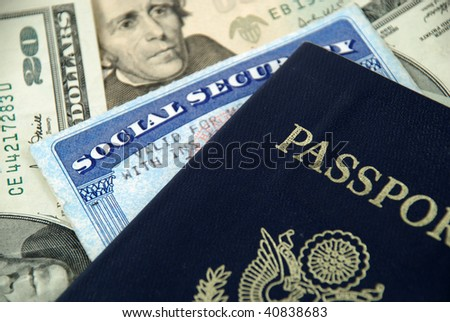 social security card, a passport and several dollar notes - stock photo
