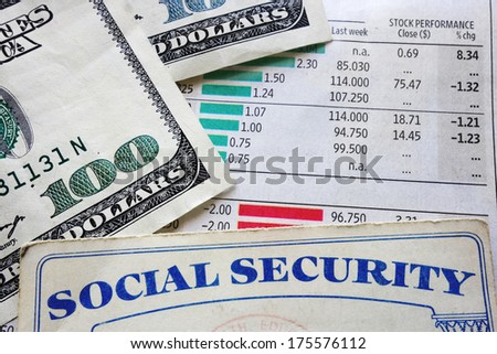 social security card, money and stock market numbers                                - stock photo
