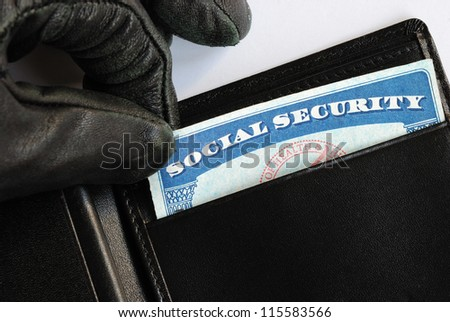 Social Security theft concept of identity theft - stock photo