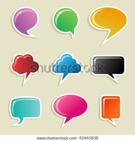 Social speech bubbles in different colors and forms illustration set. - stock photo