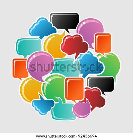 Social speech bubbles in different colors and forms in circle shape illustration. - stock photo