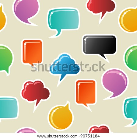 Social speech bubbles in different colors and forms seamless pattern illustration background.