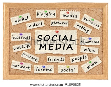 Social with networking concept words on corkboard isolated on white - stock photo