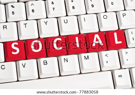 Social word on white keyboard