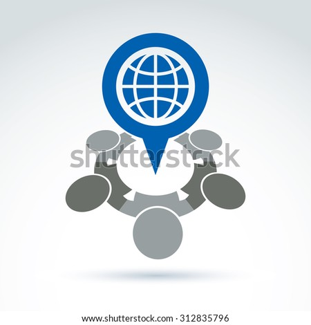 Society and organizations taking care about the world, global peace wealth and ecology theme icon, conceptual stylish symbol for your design. - stock photo