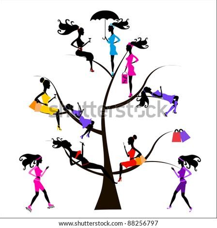Sociology Tree different girls Raster version - stock photo