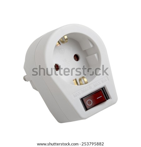 socket with switch isolated on white background - stock photo