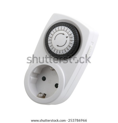 socket with timer isolated on white background  - stock photo