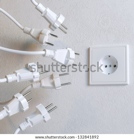 Sockets Need To Plugging In (Metaphoric Picture) - stock photo