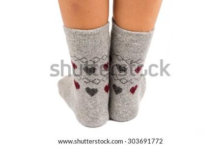 socks female legs on a white background - stock photo