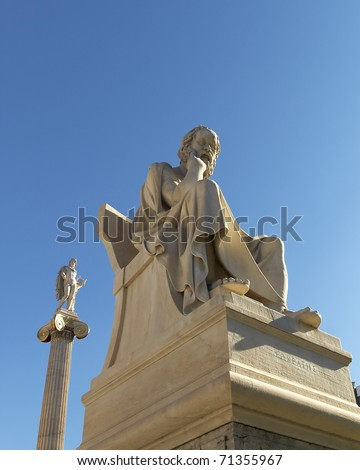 Socrates and Apollo statues, Neoclassic Athens, Greece, room for type - stock photo