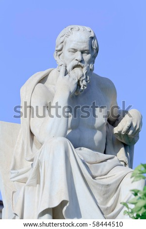 Socrates statue in thinking position - stock photo