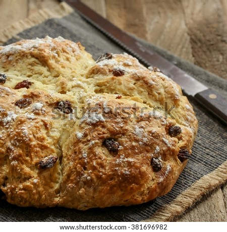 Soda bread / Saint Patrick day food selective focus, square composition