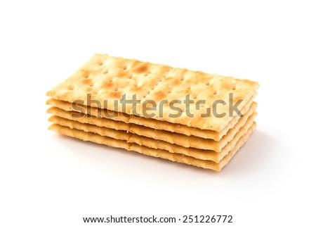 Soda Crackers isolated on white - stock photo