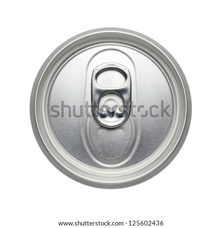 soda or beer Can, Top view, pull tab ring unopened Isolated on a white background - Realistic photo image - stock photo