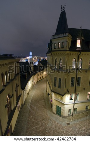 Sodermalm in Stockholm by night - stock photo