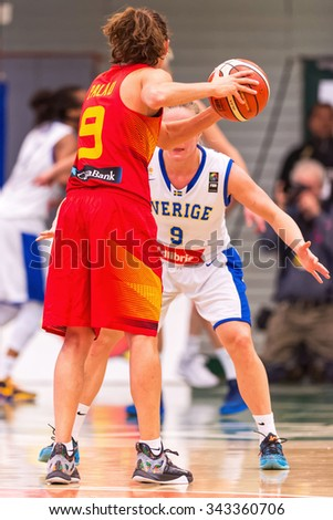 SODERTALJE, SWEDEN - NOV 21, 2015: Laila Palau in the Women European Basketball Qualifier game between Sweden and Spain at Taljehallen.