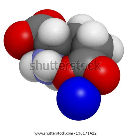 Sodium glutamate (umami flavor), molecular model. Atoms are represented as spheres with conventional color coding: hydrogen (white), carbon (grey), oxygen (red), nitrogen (blue), sodium (dark blue). - stock photo