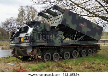 Soest, The Netherlands - April 29, 2016: Royal Netherlands Army Ground Based Air Defense system, Multiple Launch Rocket System (MLRS)