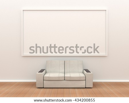 Sofa And Large Frame On The White Wall Flooring Laminate A Mock Up Template