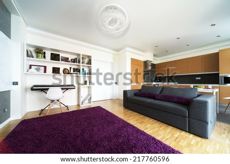 Sofa and lunch zone in studio apartment - stock photo