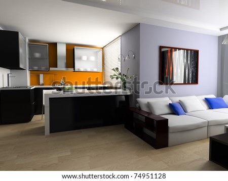 Sofa and lunch zone in studio apartment 3d image - stock photo