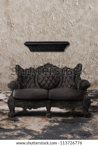 sofa and shelf in gloomy old room - stock photo