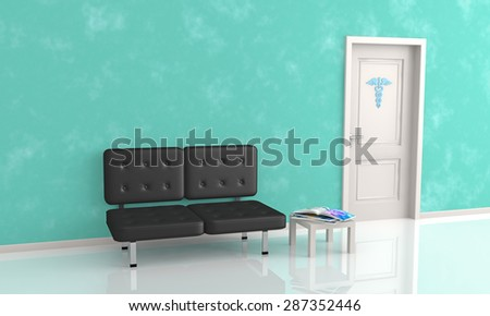 sofa and table in the waiting room of doctor's office - stock photo