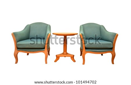 sofa and table with clipping path