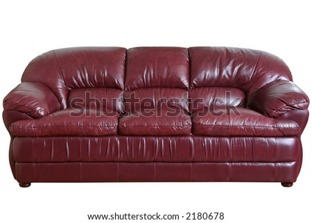 Sofa brown detail isolated on black background with path - stock photo