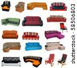 Sofa collection - stock photo
