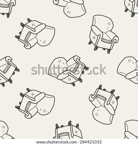 sofa doodle seamless pattern background - stock photo