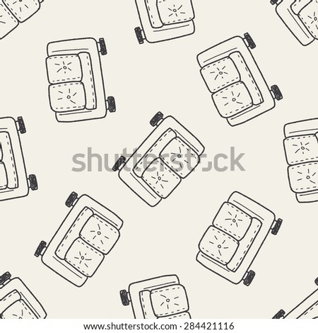 sofa doodle seamless pattern background