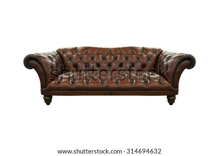 Sofa in leather furniture vintage style isolated on white background - stock photo