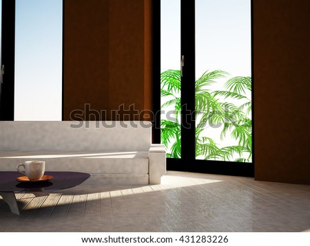 sofa in the room, 3d rendering